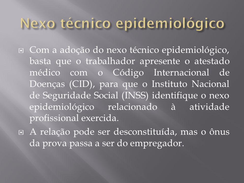 Com a adoção do nexo técnico epidemiológico, basta que o trabalhador apresente o atestado médico com o Código Internacional de Doenças (CID), para que