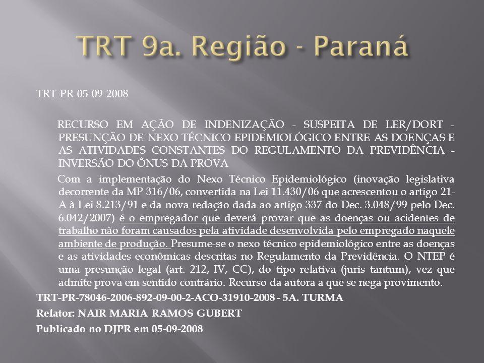 TRT-PR-05-09-2008 RECURSO EM AÇÃO DE INDENIZAÇÃO - SUSPEITA DE LER/DORT - PRESUNÇÃO DE NEXO TÉCNICO EPIDEMIOLÓGICO ENTRE AS DOENÇAS E AS ATIVIDADES CO