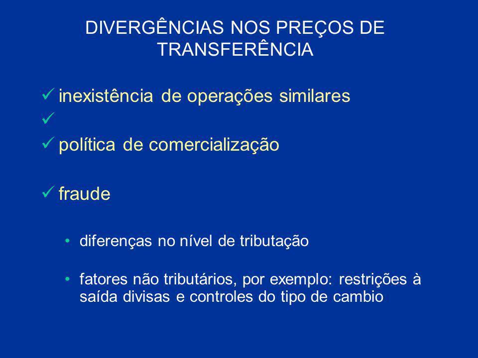 DIVERGÊNCIAS NOS PREÇOS DE TRANSFERÊNCIA inexistência de operações similares política de comercialização fraude diferenças no nível de tributação fato