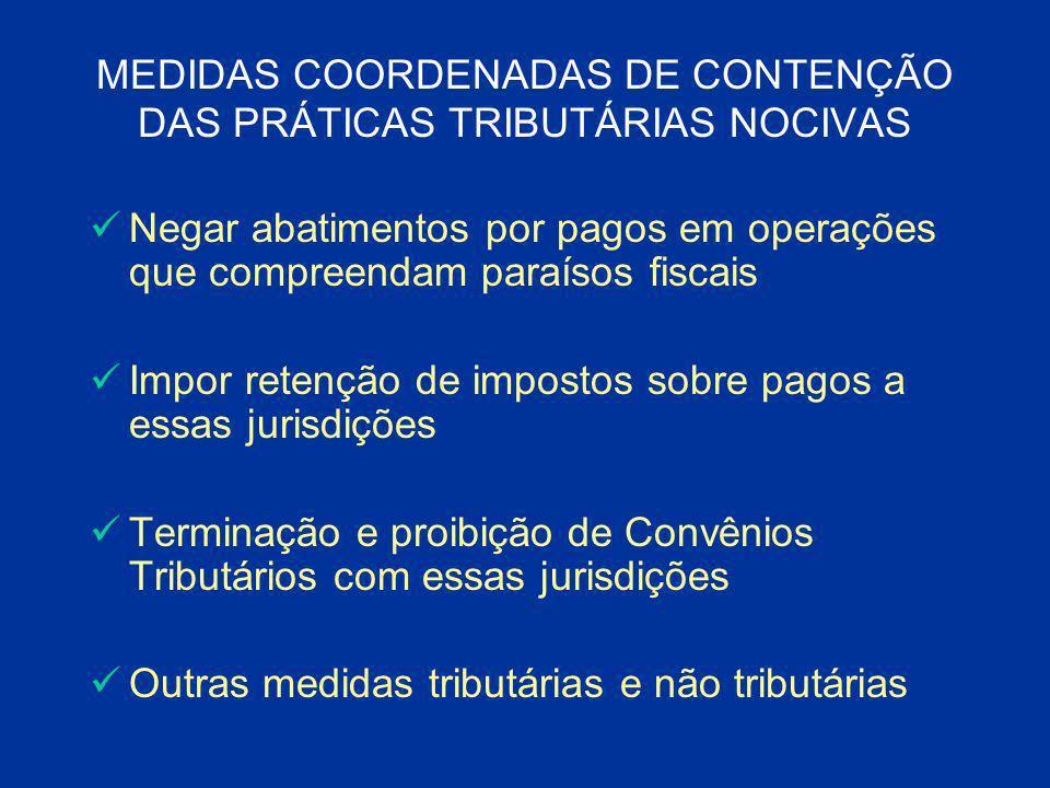 MEDIDAS COORDENADAS DE CONTENÇÃO DAS PRÁTICAS TRIBUTÁRIAS NOCIVAS Negar abatimentos por pagos em operações que compreendam paraísos fiscais Impor rete