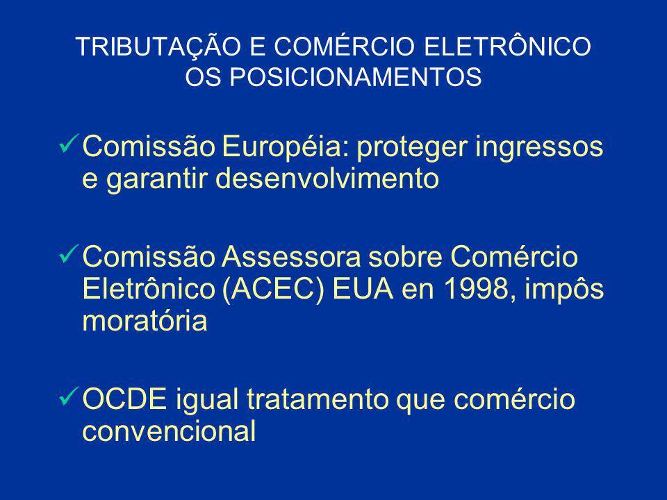 TRIBUTAÇÃO E COMÉRCIO ELETRÔNICO OS POSICIONAMENTOS Comissão Européia: proteger ingressos e garantir desenvolvimento Comissão Assessora sobre Comércio