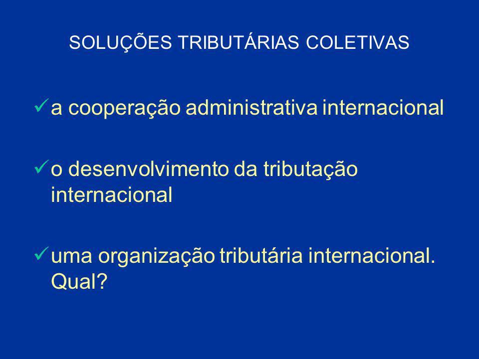SOLUÇÕES TRIBUTÁRIAS COLETIVAS a cooperação administrativa internacional o desenvolvimento da tributação internacional uma organização tributária inte