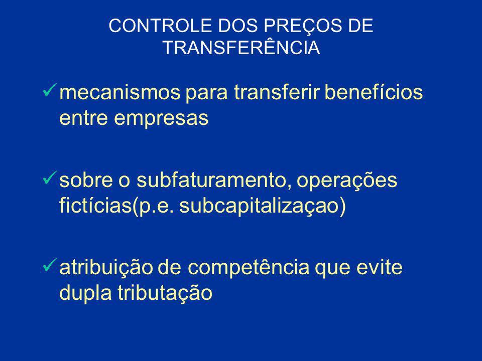 CONTROLE DOS PREÇOS DE TRANSFERÊNCIA mecanismos para transferir benefícios entre empresas sobre o subfaturamento, operações fictícias(p.e. subcapitali