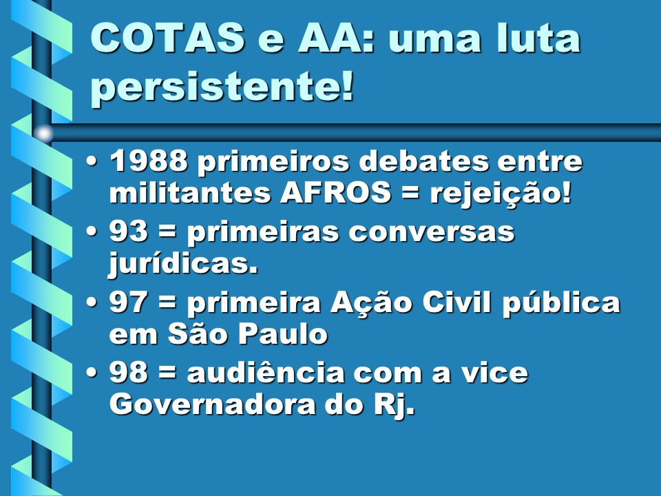 COTAS e AA: uma luta persistente! 1988 primeiros debates entre militantes AFROS = rejeição!1988 primeiros debates entre militantes AFROS = rejeição! 9