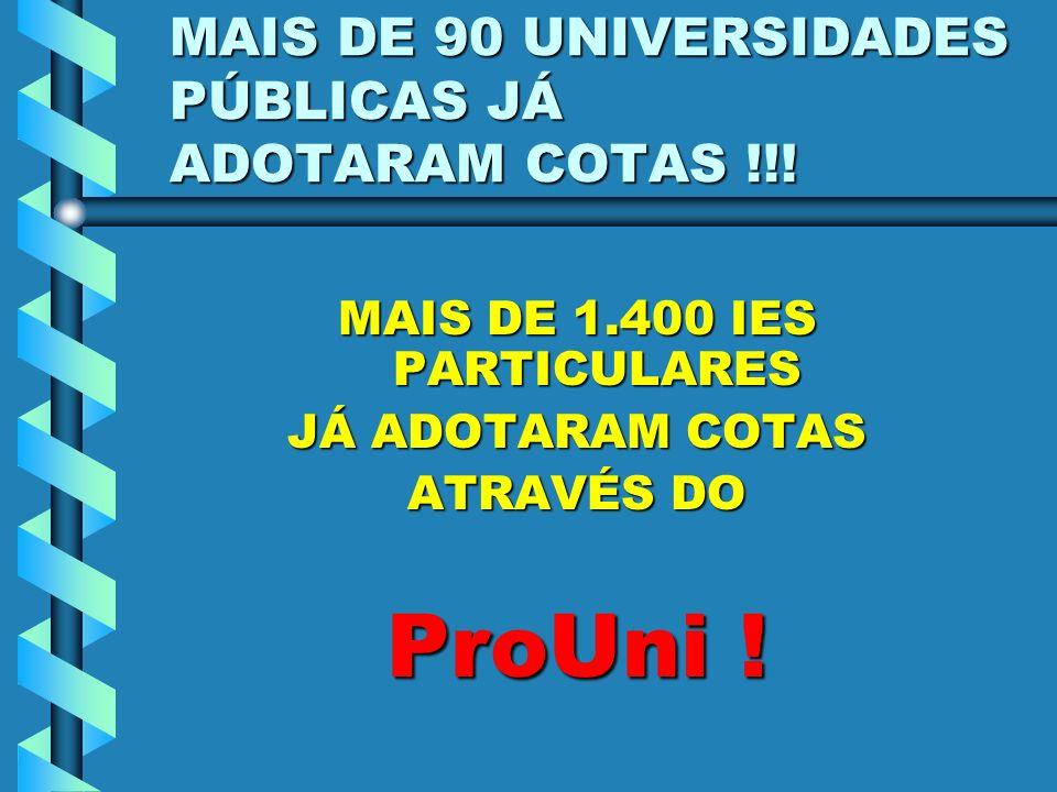 MAIS DE 90 UNIVERSIDADES PÚBLICAS JÁ ADOTARAM COTAS !!! MAIS DE 1.400 IES PARTICULARES JÁ ADOTARAM COTAS ATRAVÉS DO ProUni !