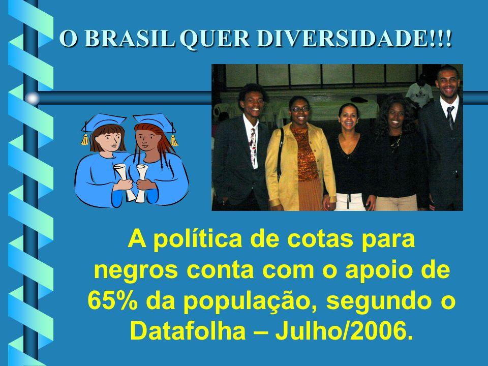 O BRASIL QUER DIVERSIDADE!!! A política de cotas para negros conta com o apoio de 65% da população, segundo o Datafolha – Julho/2006.