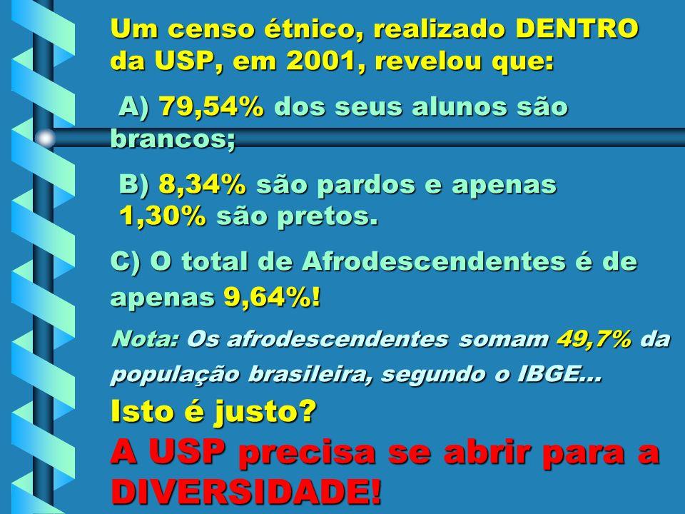 Um censo étnico, realizado DENTRO da USP, em 2001, revelou que: A) 79,54% dos seus alunos são brancos; B) 8,34% são pardos e apenas 1,30% são pretos.