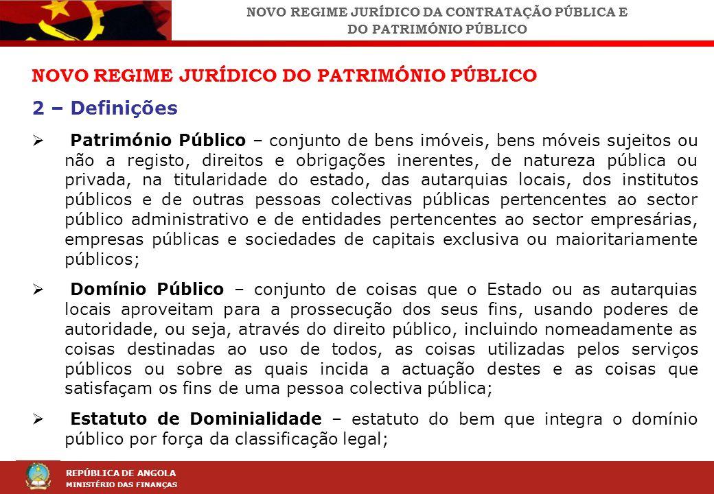 LEI DA CONTRAÇÃO PÚBLICA (LCP) REPÚBLICA DE ANGOLA MINISTÉRIO DAS FINANÇAS NOVO REGIME JURÍDICO DO PATRIMÓNIO PÚBLICO 2 – Definições Património Públic