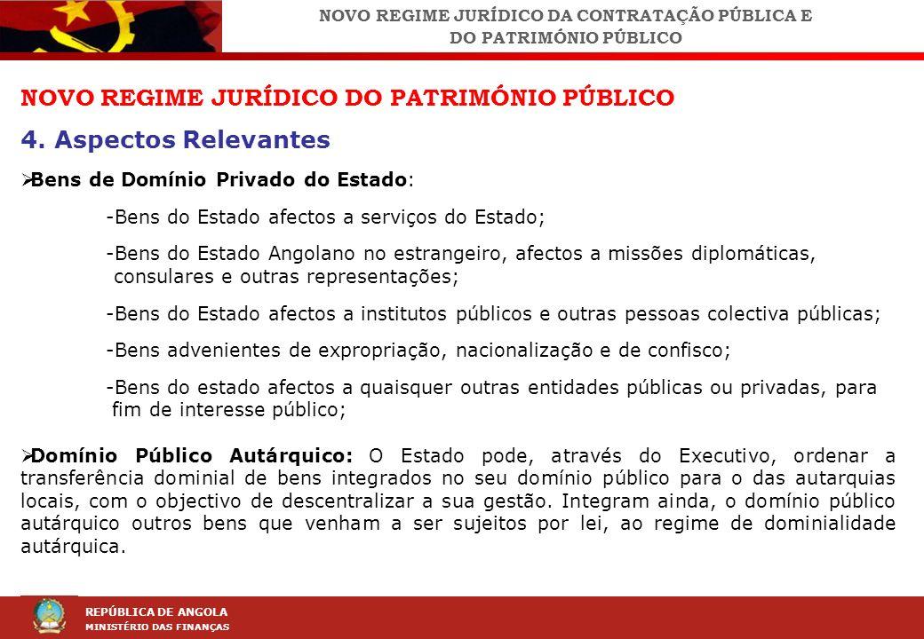 LEI DA CONTRAÇÃO PÚBLICA (LCP) REPÚBLICA DE ANGOLA MINISTÉRIO DAS FINANÇAS NOVO REGIME JURÍDICO DO PATRIMÓNIO PÚBLICO 4. Aspectos Relevantes Bens de D