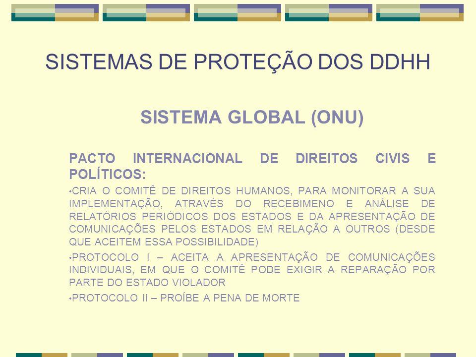 SISTEMAS DE PROTEÇÃO DOS DDHH SISTEMA GLOBAL (ONU) PACTO INTERNACIONAL DE DIREITOS CIVIS E POLÍTICOS: CRIA O COMITÊ DE DIREITOS HUMANOS, PARA MONITORA