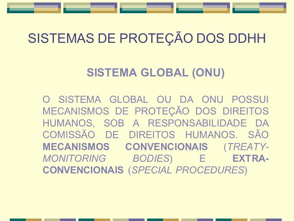 SISTEMAS DE PROTEÇÃO DOS DDHH SISTEMA GLOBAL (ONU) O SISTEMA GLOBAL OU DA ONU POSSUI MECANISMOS DE PROTEÇÃO DOS DIREITOS HUMANOS, SOB A RESPONSABILIDA