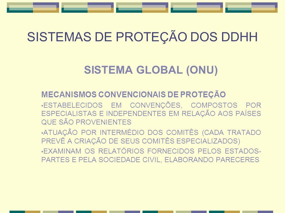 SISTEMAS DE PROTEÇÃO DOS DDHH SISTEMA GLOBAL (ONU) MECANISMOS CONVENCIONAIS DE PROTEÇÃO ESTABELECIDOS EM CONVENÇÕES, COMPOSTOS POR ESPECIALISTAS E IND