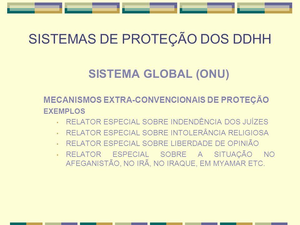 SISTEMAS DE PROTEÇÃO DOS DDHH SISTEMA GLOBAL (ONU) MECANISMOS EXTRA-CONVENCIONAIS DE PROTEÇÃO EXEMPLOS RELATOR ESPECIAL SOBRE INDENDÊNCIA DOS JUÍZES R