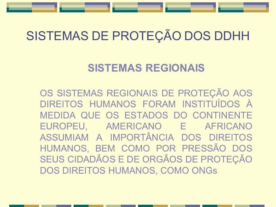 SISTEMAS DE PROTEÇÃO DOS DDHH SISTEMAS REGIONAIS OS SISTEMAS REGIONAIS DE PROTEÇÃO AOS DIREITOS HUMANOS FORAM INSTITUÍDOS À MEDIDA QUE OS ESTADOS DO C