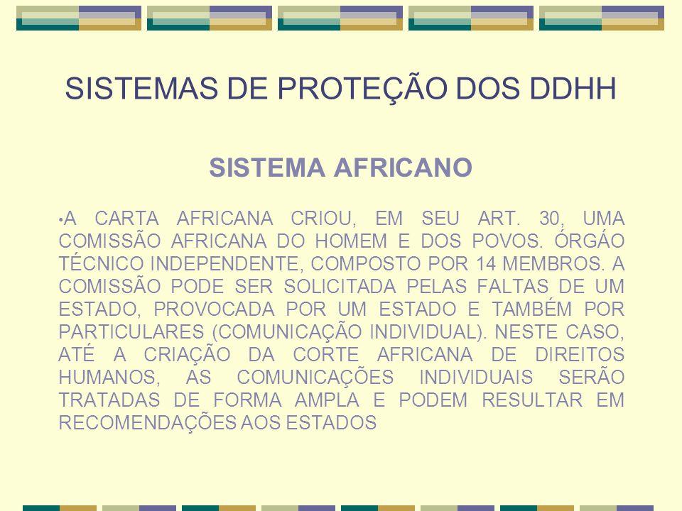 SISTEMAS DE PROTEÇÃO DOS DDHH SISTEMA AFRICANO A CARTA AFRICANA CRIOU, EM SEU ART. 30, UMA COMISSÃO AFRICANA DO HOMEM E DOS POVOS. ÓRGÁO TÉCNICO INDEP