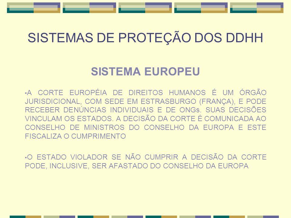 SISTEMAS DE PROTEÇÃO DOS DDHH SISTEMA EUROPEU A CORTE EUROPÉIA DE DIREITOS HUMANOS É UM ÓRGÃO JURISDICIONAL, COM SEDE EM ESTRASBURGO (FRANÇA), E PODE