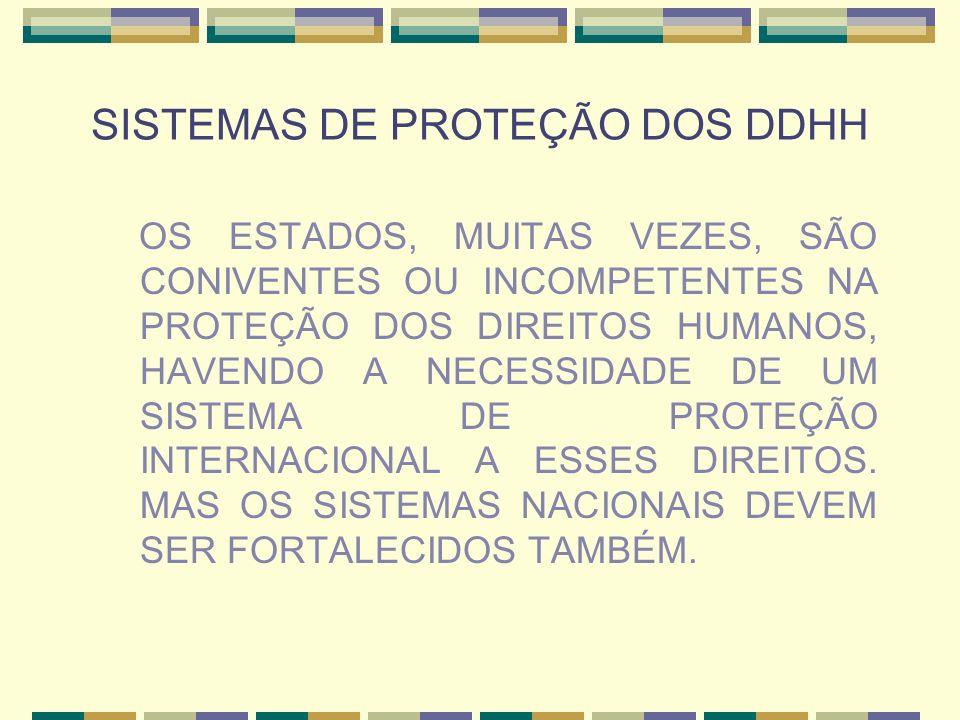 SISTEMAS DE PROTEÇÃO DOS DDHH OS ESTADOS, MUITAS VEZES, SÃO CONIVENTES OU INCOMPETENTES NA PROTEÇÃO DOS DIREITOS HUMANOS, HAVENDO A NECESSIDADE DE UM