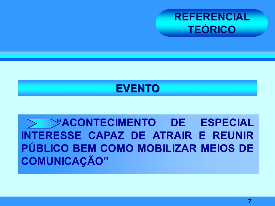 7 REFERENCIAL TEÓRICO ACONTECIMENTO DE ESPECIAL INTERESSE CAPAZ DE ATRAIR E REUNIR PÚBLICO BEM COMO MOBILIZAR MEIOS DE COMUNICAÇÃO EVENTO