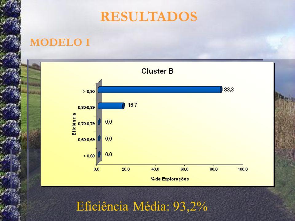 RESULTADOS MODELO I Eficiência Média: 93,2%
