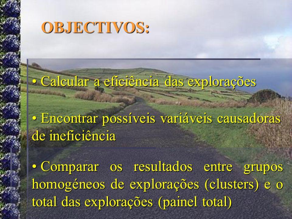 OBJECTIVOS: Calcular a eficiência das explorações Calcular a eficiência das explorações Encontrar possíveis variáveis causadoras de ineficiência Encon