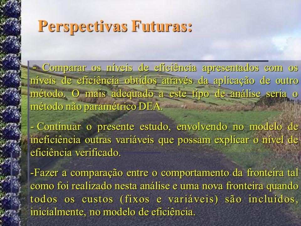 Perspectivas Futuras: - Comparar os níveis de eficiência apresentados com os níveis de eficiência obtidos através da aplicação de outro método. O mais