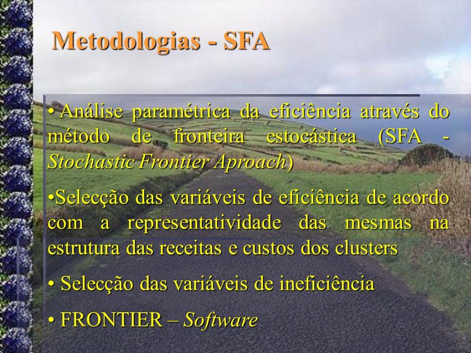 Metodologias - SFA Análise paramétrica da eficiência através do método de fronteira estocástica (SFA - Stochastic Frontier Aproach) Análise paramétric