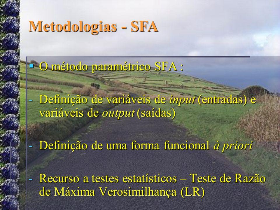 O método paramétrico SFA : O método paramétrico SFA : -Definição de variáveis de input (entradas) e variáveis de output (saídas) -Definição de uma for