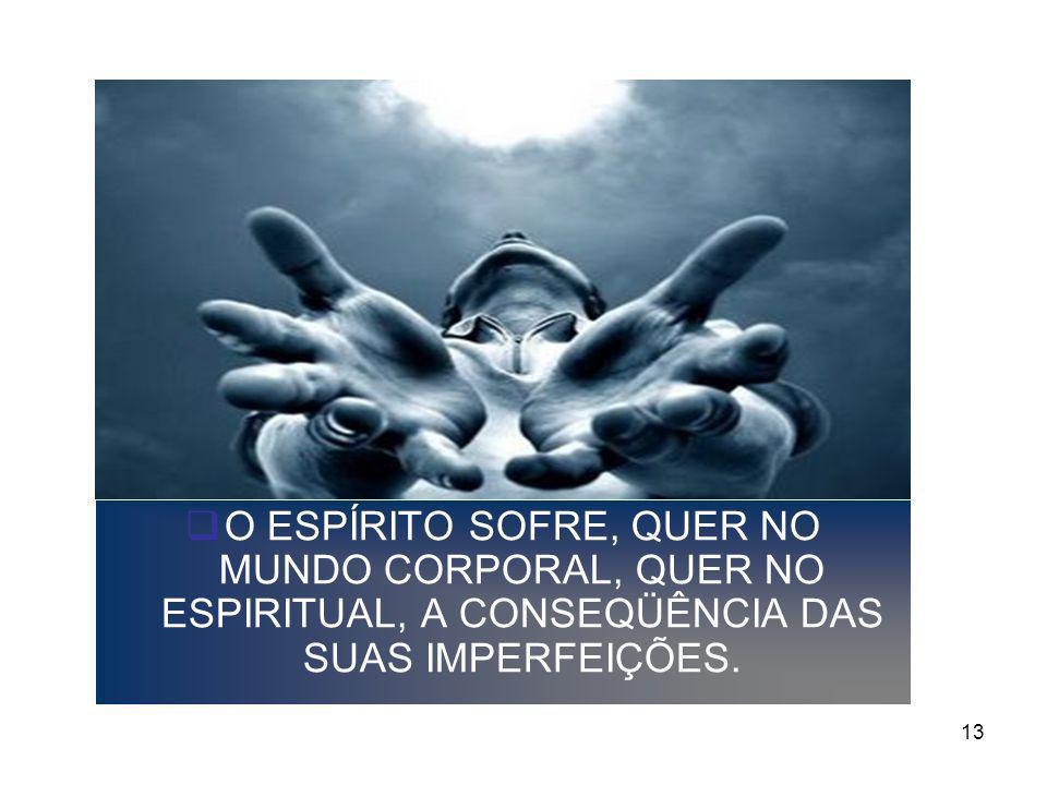 13 O ESPÍRITO SOFRE, QUER NO MUNDO CORPORAL, QUER NO ESPIRITUAL, A CONSEQÜÊNCIA DAS SUAS IMPERFEIÇÕES.