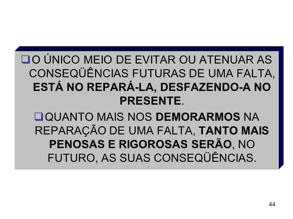 44 O ÚNICO MEIO DE EVITAR OU ATENUAR AS CONSEQÜÊNCIAS FUTURAS DE UMA FALTA, ESTÁ NO REPARÁ-LA, DESFAZENDO-A NO PRESENTE. QUANTO MAIS NOS DEMORARMOS NA