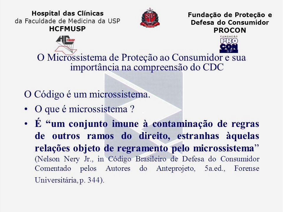 Hospital das Clínicas da Faculdade de Medicina da USP HCFMUSP Fundação de Proteção e Defesa do Consumidor PROCON O Microssistema de Proteção ao Consum