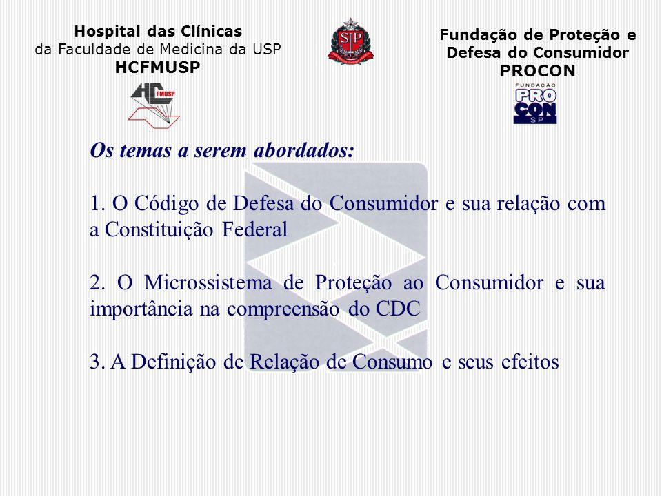 Hospital das Clínicas da Faculdade de Medicina da USP HCFMUSP Fundação de Proteção e Defesa do Consumidor PROCON Os temas a serem abordados: 1. O Códi