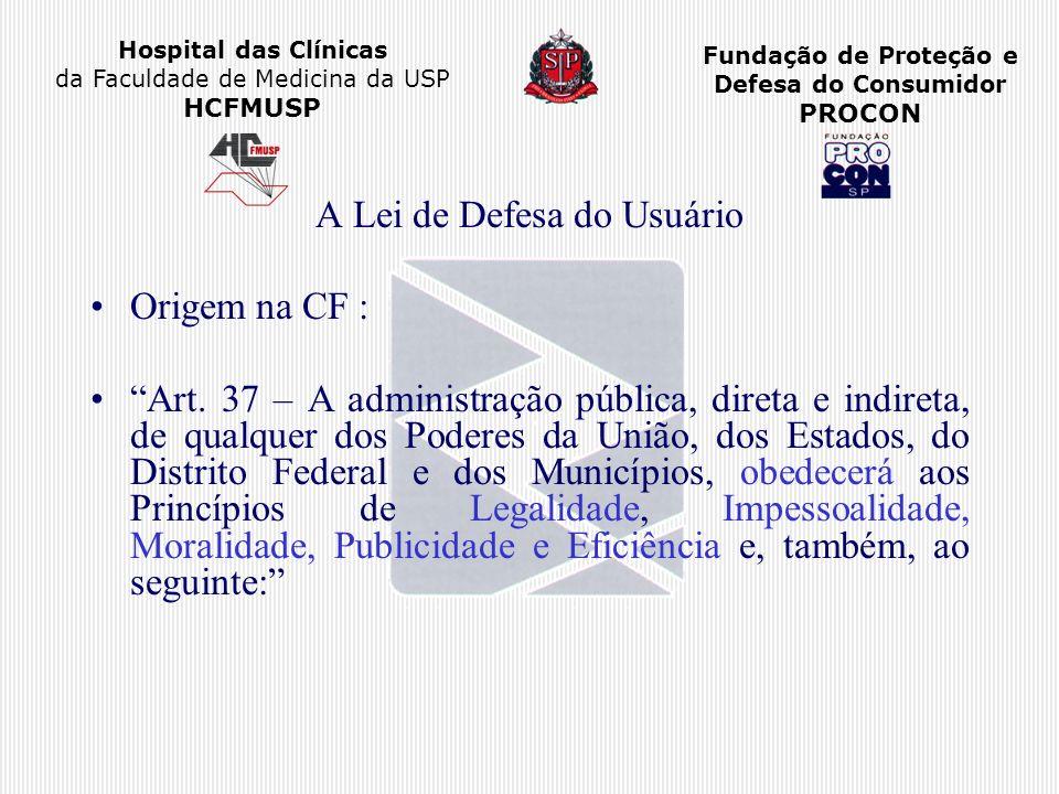 Hospital das Clínicas da Faculdade de Medicina da USP HCFMUSP Fundação de Proteção e Defesa do Consumidor PROCON A Lei de Defesa do Usuário Origem na
