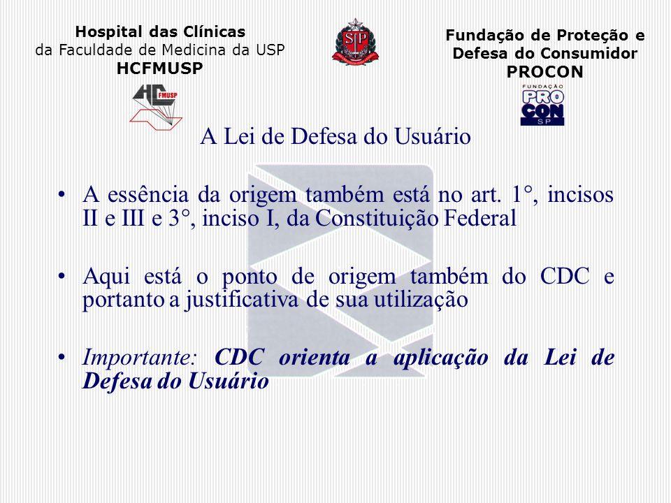 Hospital das Clínicas da Faculdade de Medicina da USP HCFMUSP Fundação de Proteção e Defesa do Consumidor PROCON A Lei de Defesa do Usuário A essência