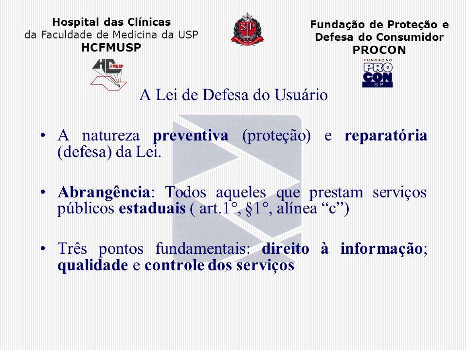 Hospital das Clínicas da Faculdade de Medicina da USP HCFMUSP Fundação de Proteção e Defesa do Consumidor PROCON A Lei de Defesa do Usuário A natureza