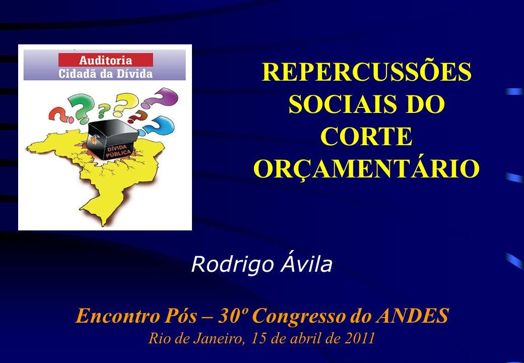 Rodrigo Ávila Encontro Pós – 30º Congresso do ANDES Rio de Janeiro, 15 de abril de 2011 REPERCUSSÕES SOCIAIS DO CORTE ORÇAMENTÁRIO