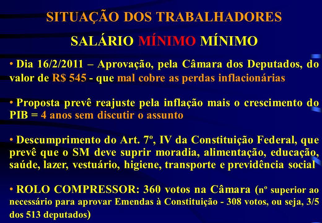 SITUAÇÃO DOS TRABALHADORES SALÁRIO MÍNIMO MÍNIMO Dia 16/2/2011 – Aprovação, pela Câmara dos Deputados, do valor de R$ 545 - que mal cobre as perdas in