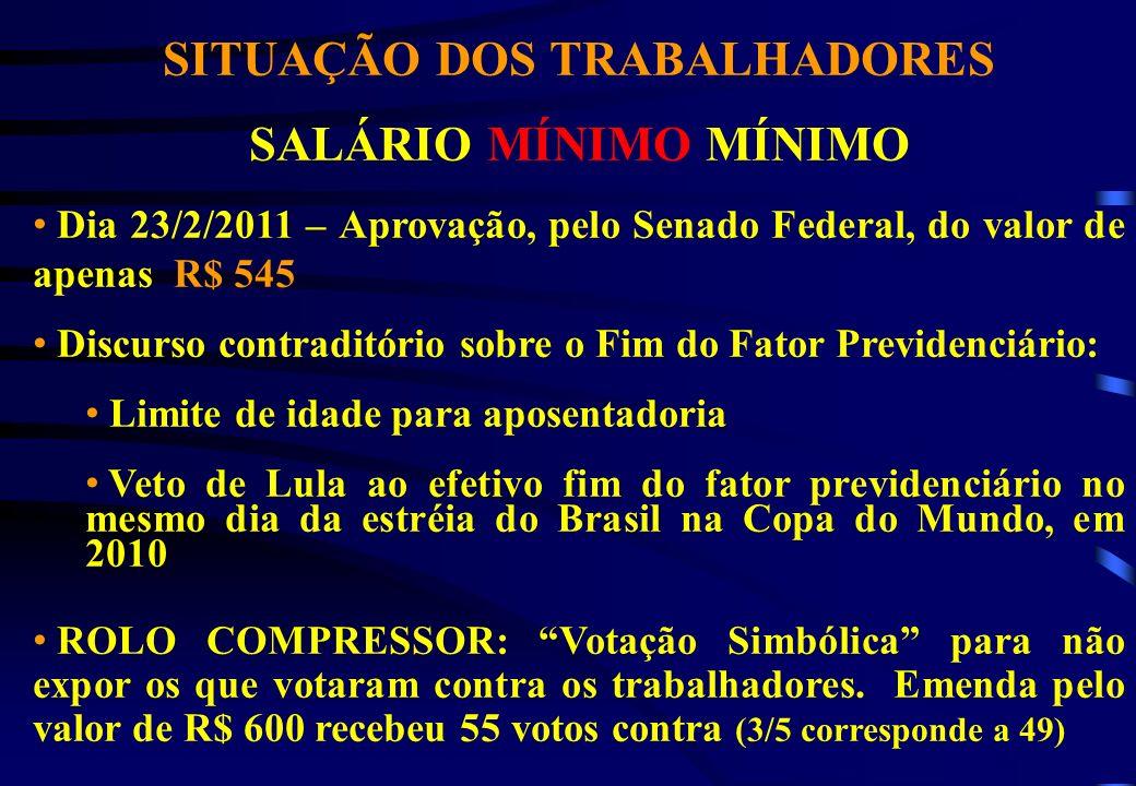 SITUAÇÃO DOS TRABALHADORES SALÁRIO MÍNIMO MÍNIMO Dia 23/2/2011 – Aprovação, pelo Senado Federal, do valor de apenas R$ 545 Discurso contraditório sobr