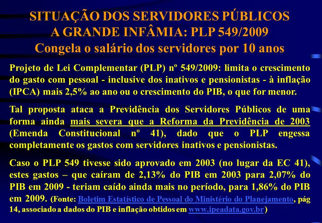 SITUAÇÃO DOS SERVIDORES PÚBLICOS A GRANDE INFÂMIA: PLP 549/2009 Congela o salário dos servidores por 10 anos Projeto de Lei Complementar (PLP) nº 549/