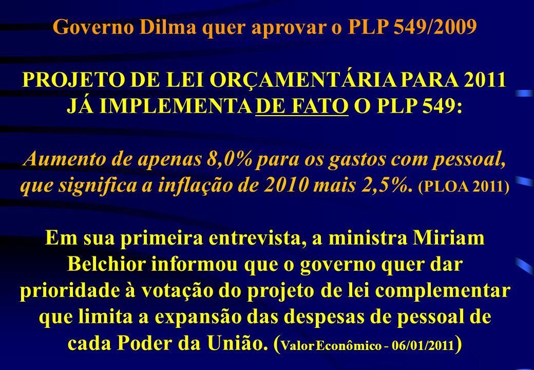 Governo Dilma quer aprovar o PLP 549/2009 PROJETO DE LEI ORÇAMENTÁRIA PARA 2011 JÁ IMPLEMENTA DE FATO O PLP 549: Aumento de apenas 8,0% para os gastos