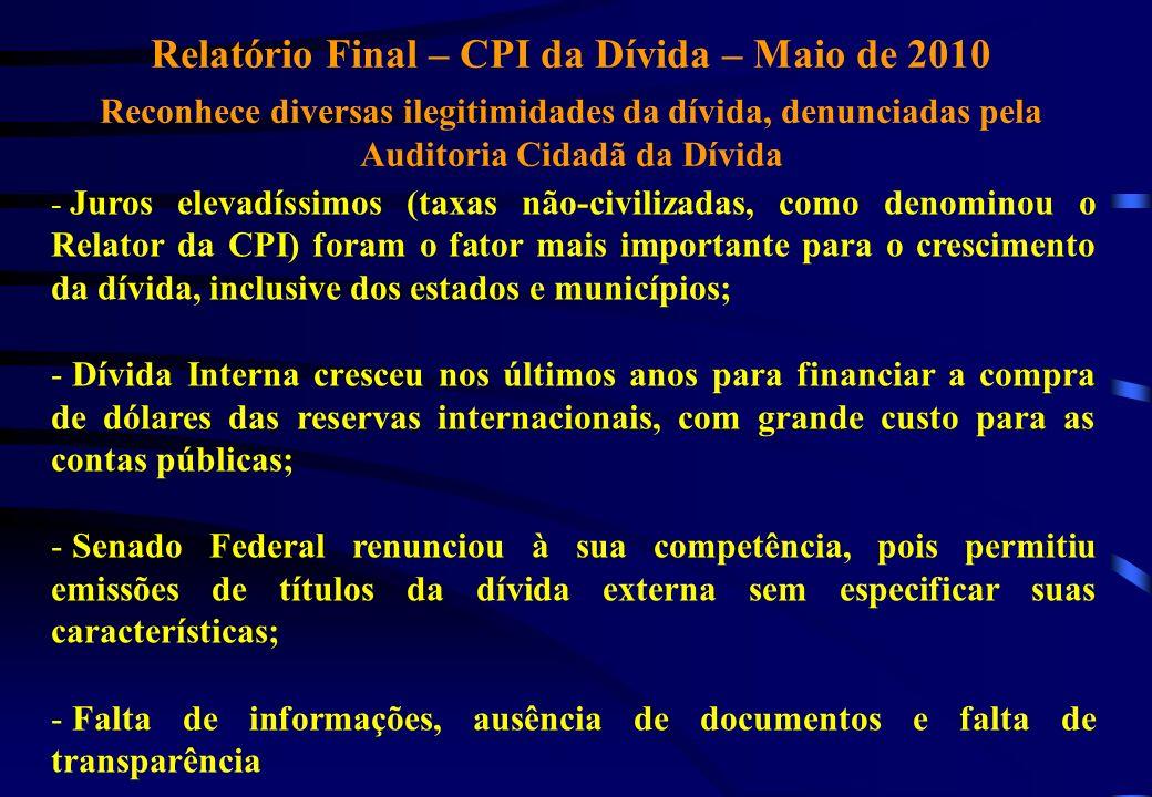 Relatório Final – CPI da Dívida – Maio de 2010 Reconhece diversas ilegitimidades da dívida, denunciadas pela Auditoria Cidadã da Dívida - Juros elevad