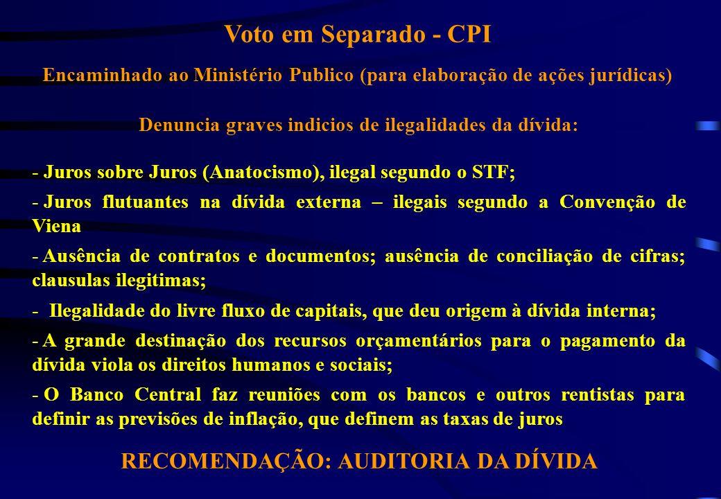Voto em Separado - CPI Encaminhado ao Ministério Publico (para elaboração de ações jurídicas) Denuncia graves indicios de ilegalidades da dívida: - Ju