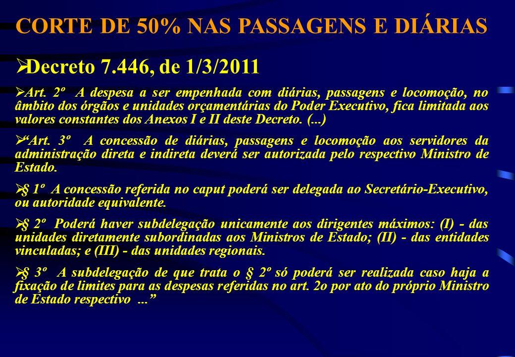 CORTE DE 50% NAS PASSAGENS E DIÁRIAS Decreto 7.446, de 1/3/2011 Art. 2º A despesa a ser empenhada com diárias, passagens e locomoção, no âmbito dos ór