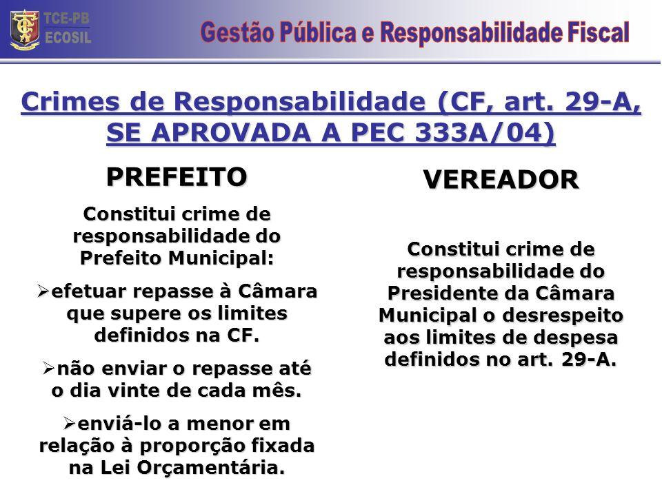 Crimes de Responsabilidade (CF, art. 29-A) PREFEITO Constitui crime de responsabilidade do Prefeito Municipal: efetuar repasse à Câmara que supere os