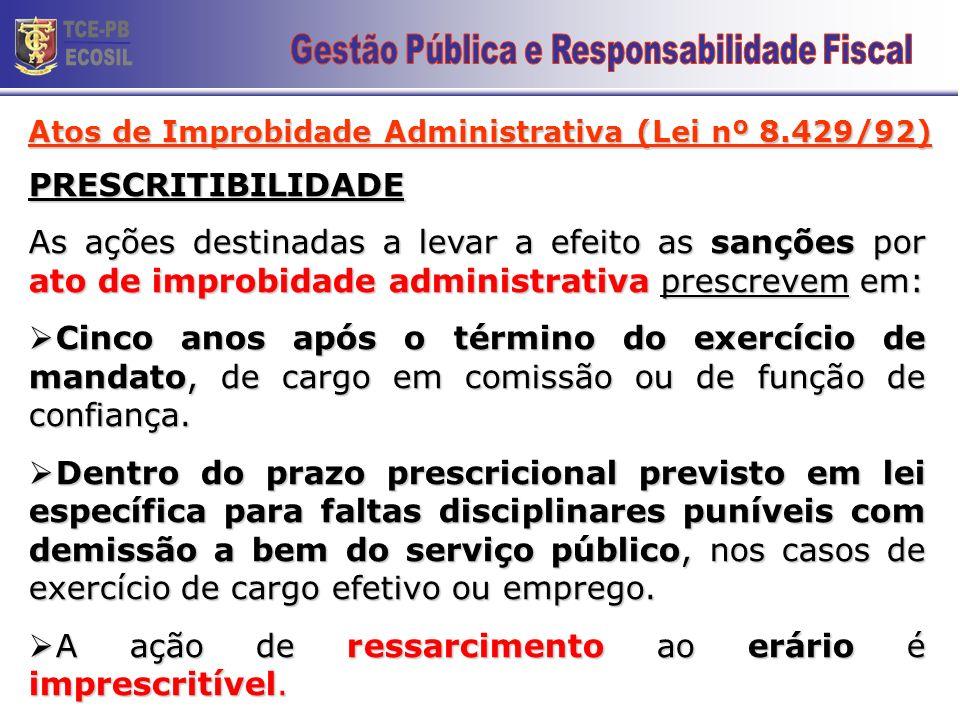 Atos de Improbidade Administrativa (Lei 8.429/92) Atos que atentam contra os princípios da Adm. Pública Art. 11. (...) IV - negar publicidade aos atos
