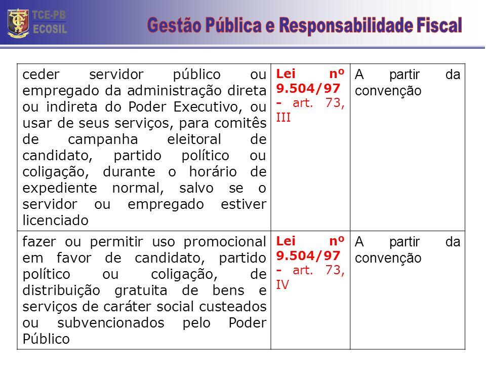 LEI Nº 9.504/97 (NORMAS PARA ELEIÇÕES) RESOLUÇÃO TSE 22.579/07 CONDUTAS PROIBIDAS AOS AGENTES PÚBLICOS ceder ou usar, em benefício de candidato, parti