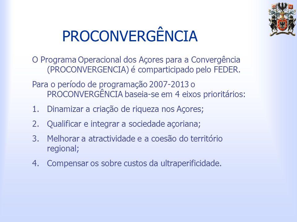 PROCONVERGÊNCIA O Programa Operacional dos Açores para a Convergência (PROCONVERGENCIA) é comparticipado pelo FEDER.