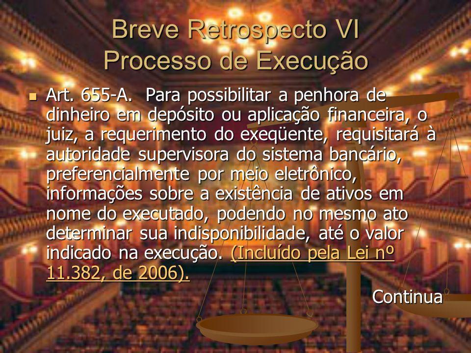 Breve Retrospecto VI Processo de Execução Art. 655-A. Para possibilitar a penhora de dinheiro em depósito ou aplicação financeira, o juiz, a requerime