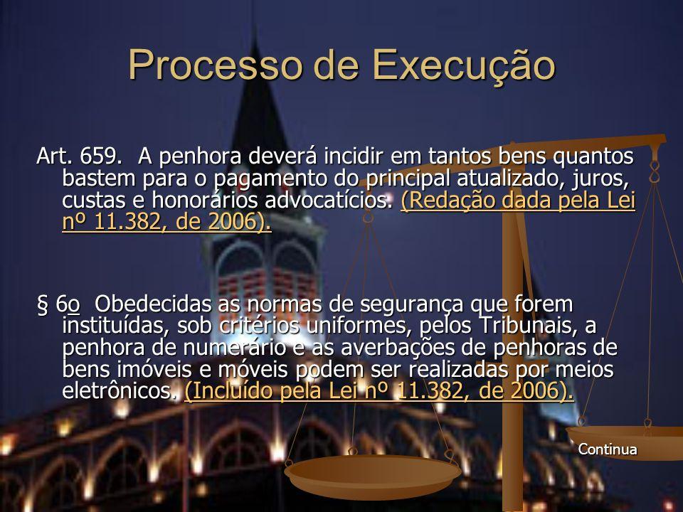 Processo de Execução Art. 659. A penhora deverá incidir em tantos bens quantos bastem para o pagamento do principal atualizado, juros, custas e honorá