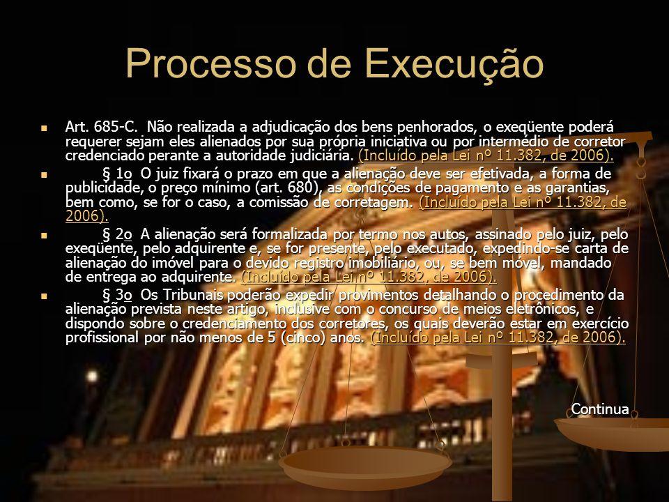 Processo de Execução Art. 685-C. Não realizada a adjudicação dos bens penhorados, o exeqüente poderá requerer sejam eles alienados por sua própria ini