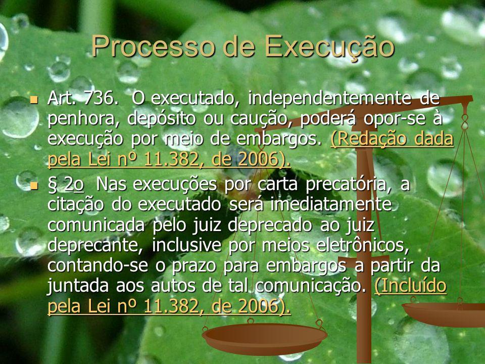 Processo de Execução Art. 736. O executado, independentemente de penhora, depósito ou caução, poderá opor-se à execução por meio de embargos. (Redação